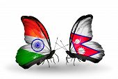 Two Butterflies With Flags On Wings As Symbol Of Relations India And Nepal