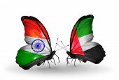 Two Butterflies With Flags On Wings As Symbol Of Relations India And Uae