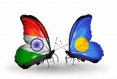 Two Butterflies With Flags On Wings As Symbol Of Relations India And Palau