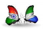 Two Butterflies With Flags On Wings As Symbol Of Relations India And Sierra Leone