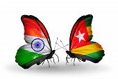 Two Butterflies With Flags On Wings As Symbol Of Relations India And Togo