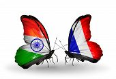 Two Butterflies With Flags On Wings As Symbol Of Relations India And France