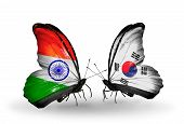 Two Butterflies With Flags On Wings As Symbol Of Relations India And South Korea