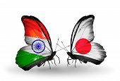 Two Butterflies With Flags On Wings As Symbol Of Relations India And  Japan