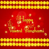 stock photo of saraswati  - Elegant greeting card design with shiny text Happy Vasant Panchami and flowers decoration on red background - JPG