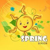 stock photo of saraswati  - Smiling sun with text Spring Season on colorful background - JPG
