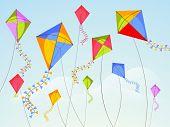Shiny kites flying on occasion of Happy Vasant Panchami celebration.