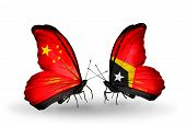 Two Butterflies With Flags On Wings As Symbol Of Relations China And East Timor