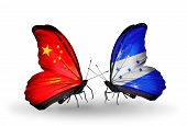 Two Butterflies With Flags On Wings As Symbol Of Relations China And Honduras