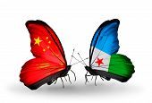 Two Butterflies With Flags On Wings As Symbol Of Relations China And Djibouti
