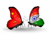 Two Butterflies With Flags On Wings As Symbol Of Relations China And India