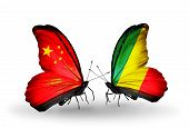 Two Butterflies With Flags On Wings As Symbol Of Relations China And Kongo