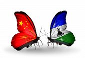 Two Butterflies With Flags On Wings As Symbol Of Relations China And  Lesotho