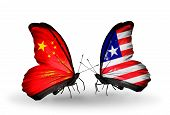 Two Butterflies With Flags On Wings As Symbol Of Relations China And Liberia