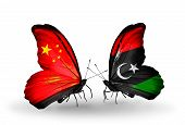 Two Butterflies With Flags On Wings As Symbol Of Relations China And Libya