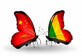 Two Butterflies With Flags On Wings As Symbol Of Relations China And Mali