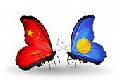 Two Butterflies With Flags On Wings As Symbol Of Relations China And  Palau