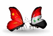 Two Butterflies With Flags On Wings As Symbol Of Relations China And Syria