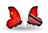Two Butterflies With Flags On Wings As Symbol Of Relations China And Trinidad And Tobago