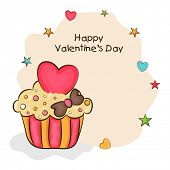 Happy Valentine's Day celebration love greeting card with delicious cup cake.