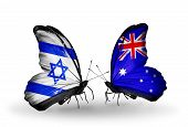 Two Butterflies With Flags On Wings As Symbol Of Relations Israel And Australia