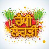 Stylish Punjabi text (Happy Lohri) with sugarcanes on color splash background.