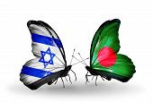 Two Butterflies With Flags On Wings As Symbol Of Relations Israel And Bangladesh