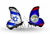 Two Butterflies With Flags On Wings As Symbol Of Relations Israel And Belize