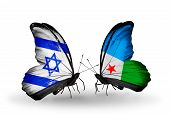 Two Butterflies With Flags On Wings As Symbol Of Relations Israel And Djibouti