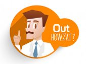 Stylish sticker with an umpire showing out and text Out Howzat on orange background for Cricket sports concept.