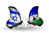 Two Butterflies With Flags On Wings As Symbol Of Relations Israel And Lesotho