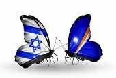 Two Butterflies With Flags On Wings As Symbol Of Relations Israel And Marshall Islands