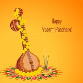 stock photo of rangoli  - Traditional musical instrument Veena with religious offerings on rangoli for Hindu Community festival - JPG