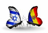 Two Butterflies With Flags On Wings As Symbol Of Relations Israel And Moldova