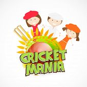 Cricket sports concept with cute little girls, wicket stumps and ball on white background.