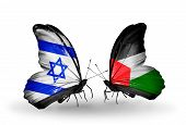 Two Butterflies With Flags On Wings As Symbol Of Relations Israel And Palestine