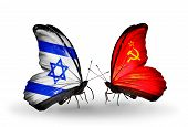 Two Butterflies With Flags On Wings As Symbol Of Relations Israel And  Soviet Union