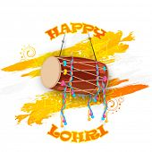 Punjabi festival, Happy Lohri celebration with drum on floral decorated background.