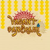 Beautiful greeting card design with yellow text Vasant Panchami and flowers on floral decorated background.
