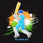 Young batsman in playing action with text Go India Go on national flag color splash background.