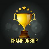 Golden championship trophy with stars for Cricket on shiny black background.