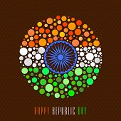 stock photo of ashoka  - Happy Indian Republic Day celebration with Ashoka Wheel and national tricolor circles on brown background - JPG