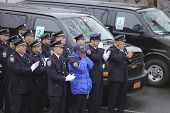 NYPD honor guard outside mortuary