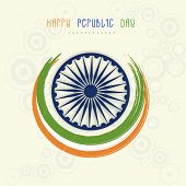 picture of ashoka  - Happy Indian Republic Day celebration with Ashoka Wheel and national flag color paint stroke on floral decorated background - JPG