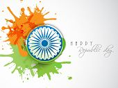 stock photo of ashoka  - Happy Indian Republic Day celebration concept with Ashoka Wheel on national flag color splash - JPG