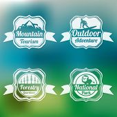 Set of four badge of mountain tourism, outdoor adventure, forestry guardians and national park on stylish background.