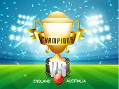 England Vs Australia Cricket match concept with red ball, golden winning trophy and ribbon shining in stadium lights.