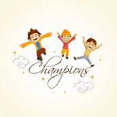 Cricket sports concept with cute happy kids and stylish text Champions.