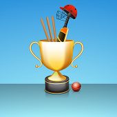 Golden winning trophy with bat, ball, helmet and wicket stumps for cricket sports on shiny sky blue background.