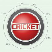 Cricket sports concept with statistics on sky blue background.